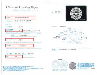 ○中央宝石研究所(CGL)の鑑定書例