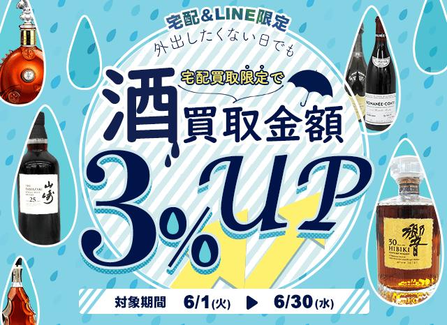 お酒をご売却で査定額3%UP致します。