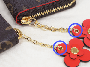 偽物と本物の花のアクセサリー輪の金具比較